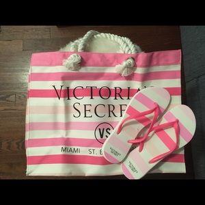 New Victoria Secret Bag and FlipFlops